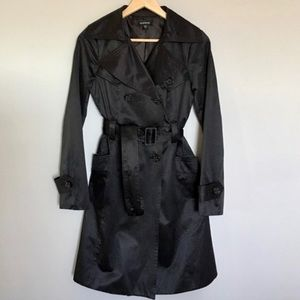 Black Satin Bebe Trench Coat